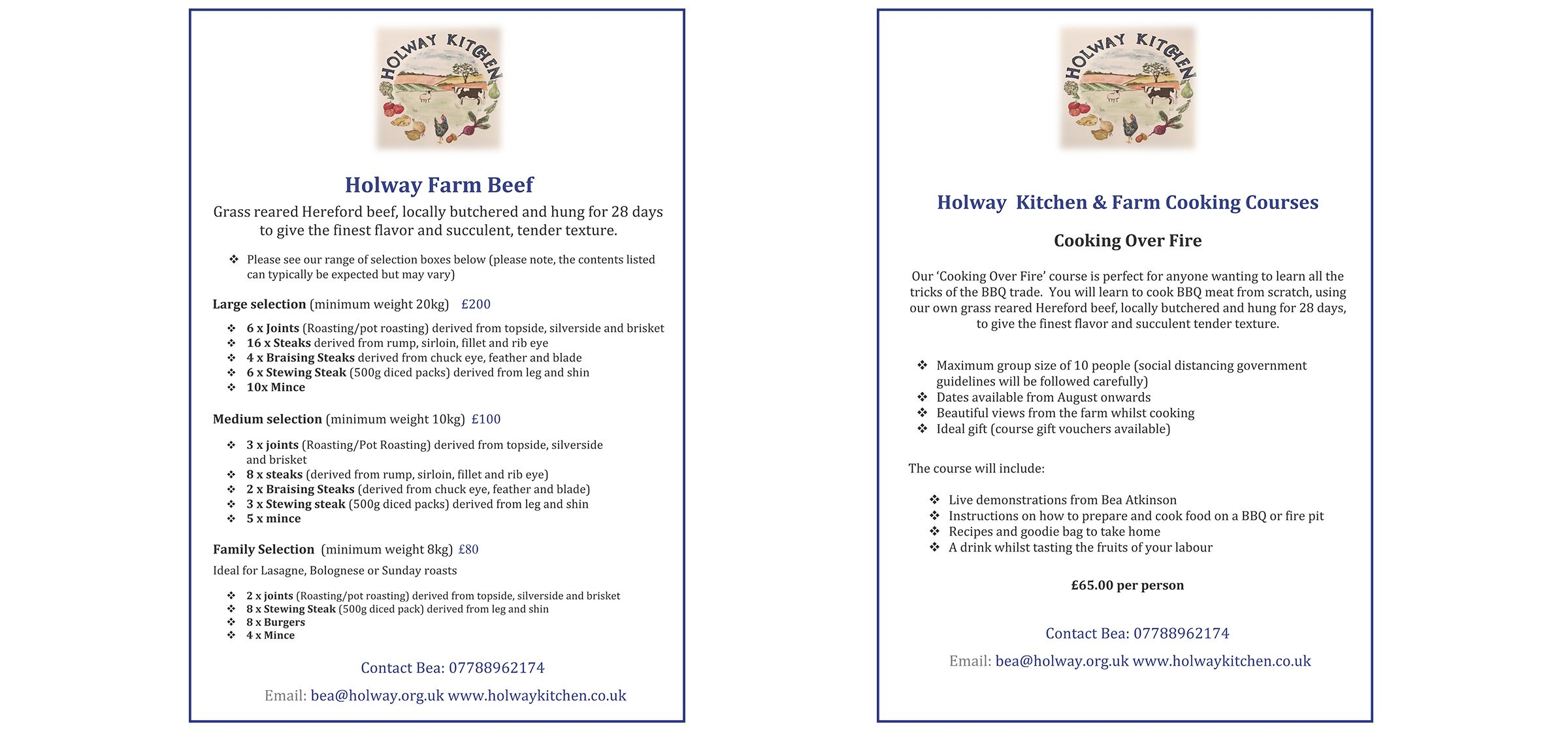 Holway Farm beef boxes and Cooking Over Fire info